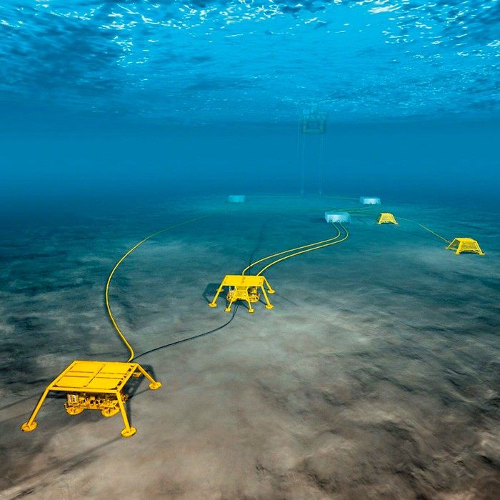 Yellow sensor units placed in shallow water on the ocean floor.