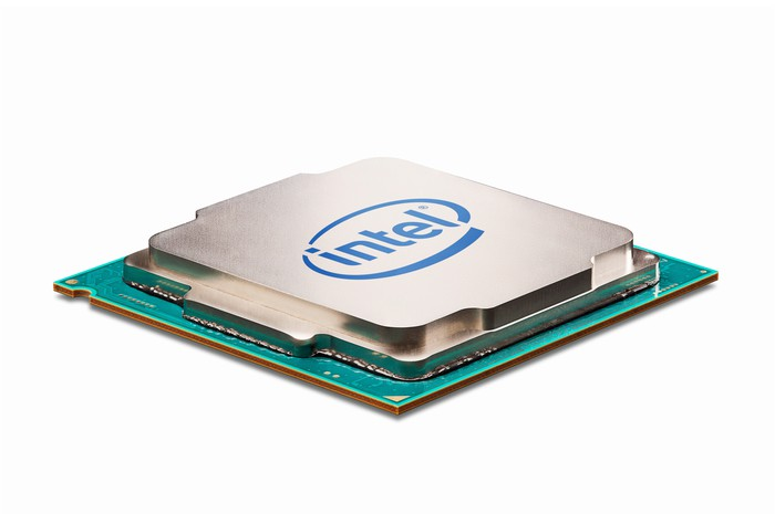 An Intel chip against a white background.