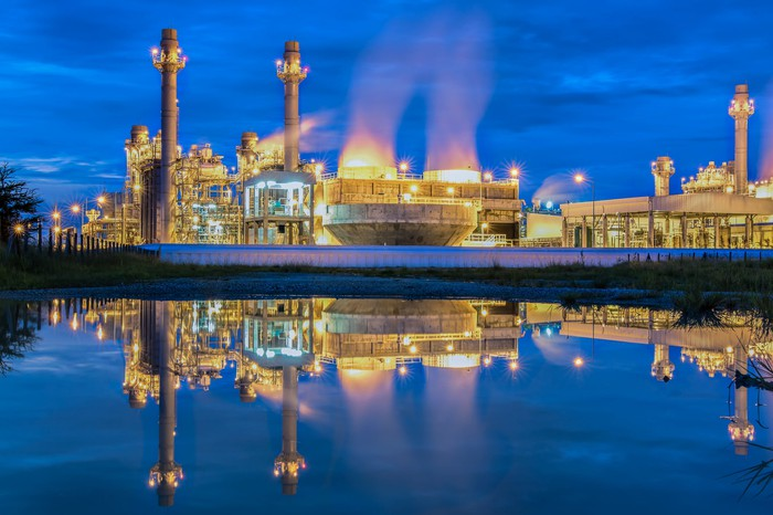 Electric power plant at night.
