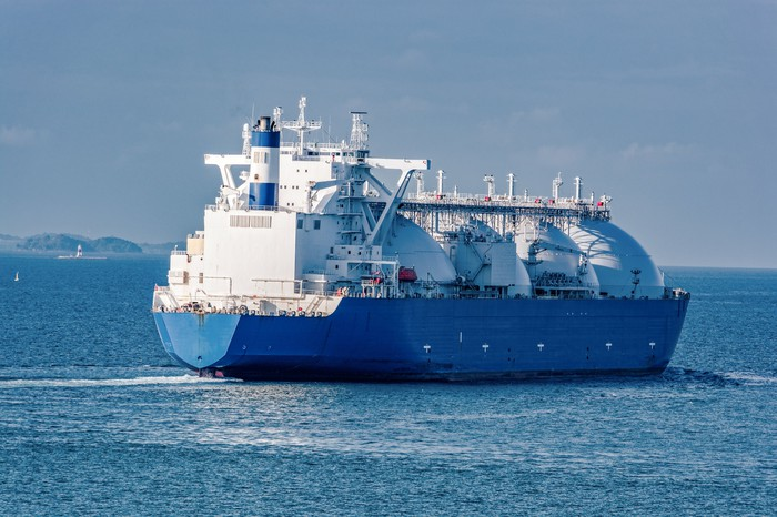 A liquified natural gas tanker at sea.