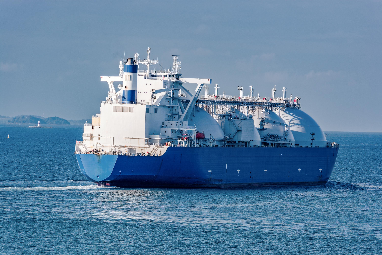 A liquified natural gas tanker at sea.