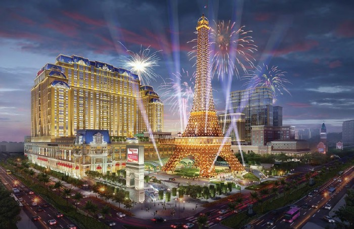 Rendering of The Parisian Macau with fireworks.
