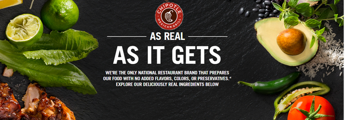 """The Chipotle logo and slogan """"As Real As It Gets"""" surrounded by fresh ingredients like avocados and limes."""