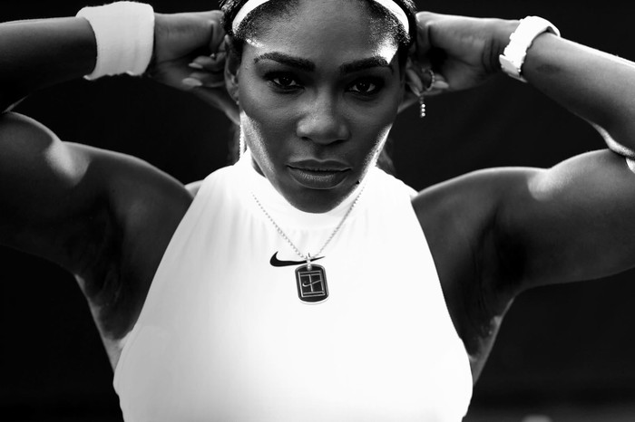 Tennis star Serena Williams wearing Nike gear.