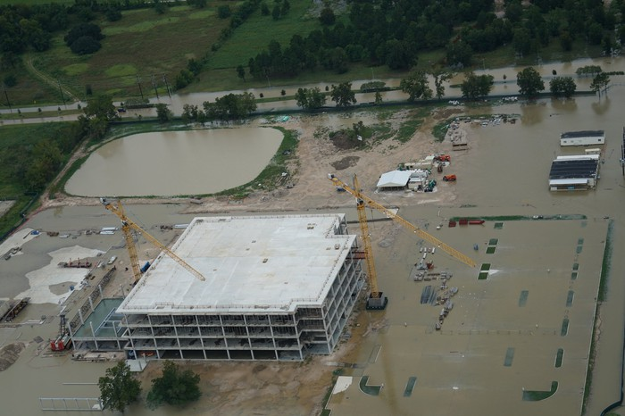A contruction site flooded by Hurricane Harvey.