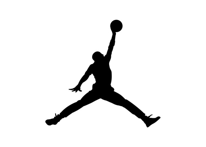 A black Air Jordan brand logo.