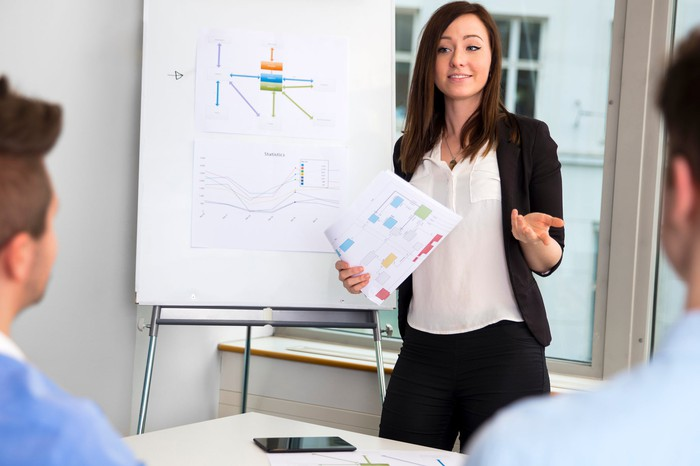 Woman presenting next to a chart