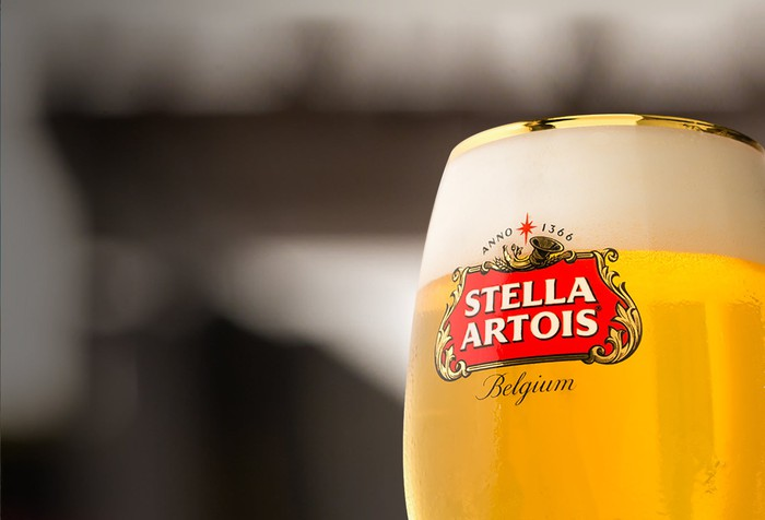 Full beer glass with Stella Artois Logo