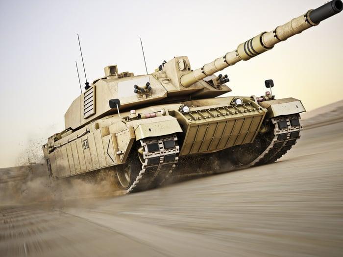Abrams main battle tank in motion across sand
