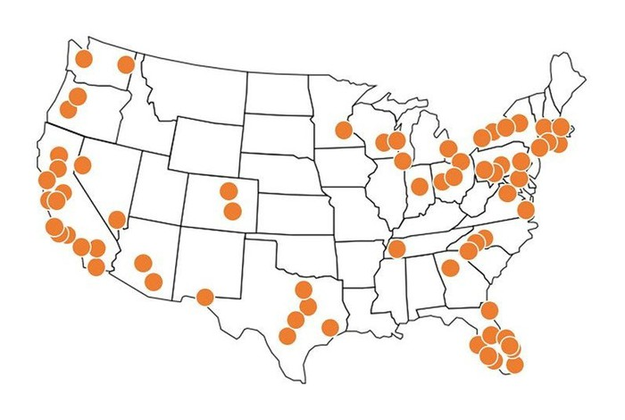 Amazon's locker locations across the US.