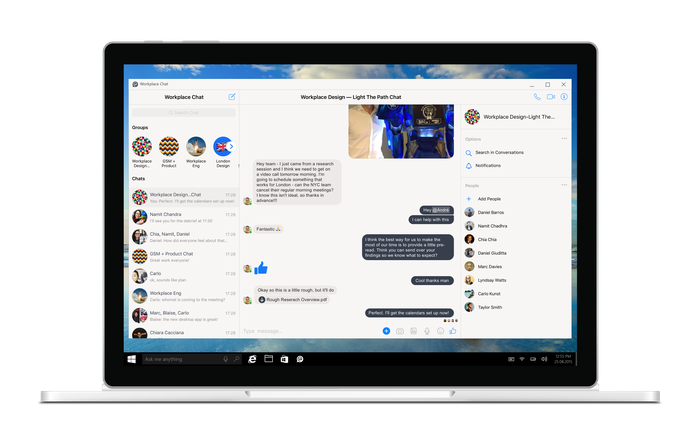 Workplace Chat desktop app on a laptop