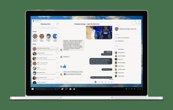 Workplace Chat desktop app on a laptop