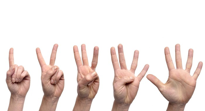 Hands holding up one, two, three, four, and five fingers