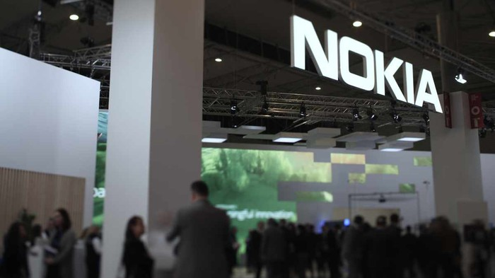 A Nokia sign at the Mobile World Conference.
