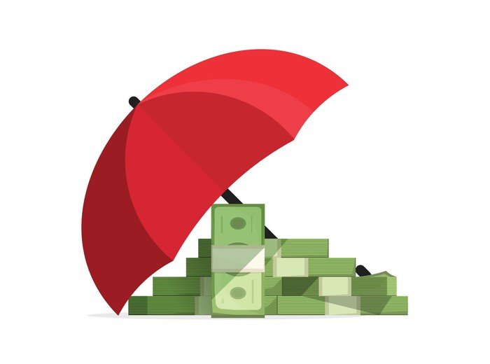 Cartoon money under an umbrella