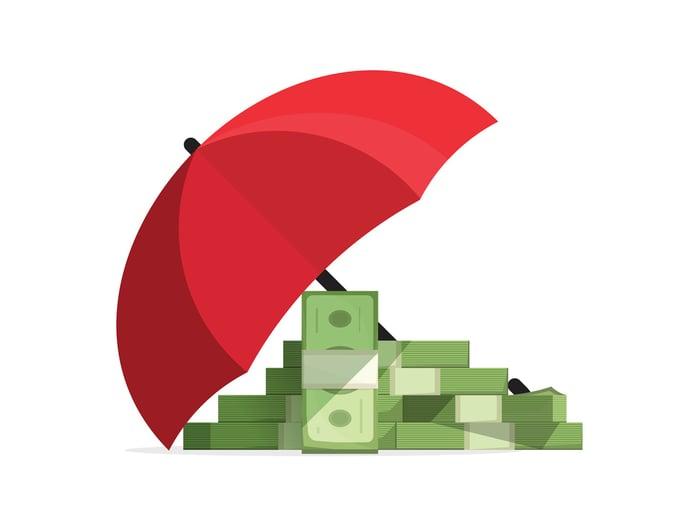 Cartoon money under an umbrella