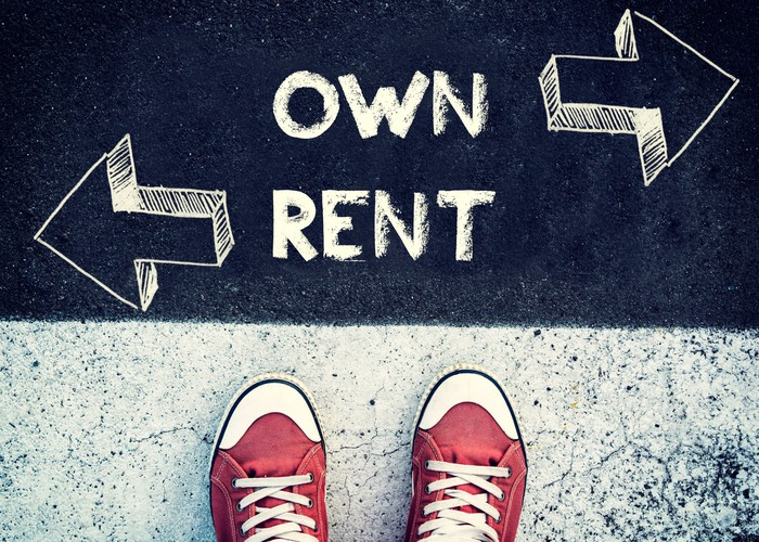The words OWN and RENT, with arrows next to each