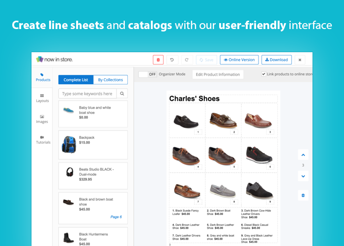 Screenshot of Shopify's catalog-building tool