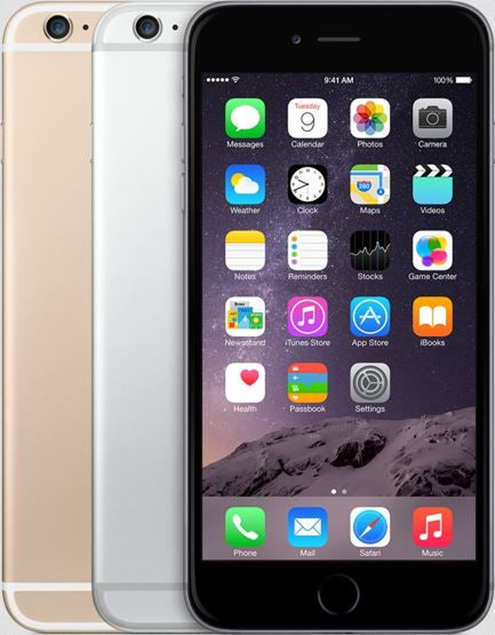 The iPhone 6 Plus in black, silver, and gold color options