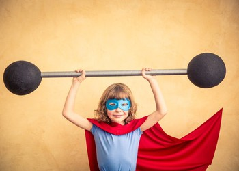 Super Hero Child Lifting Barbell