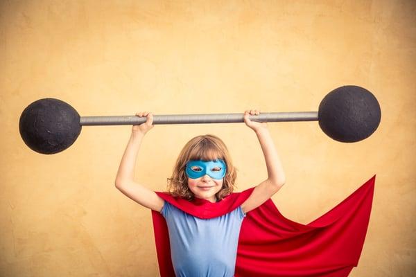 Super Hero Child Lifting Barbell