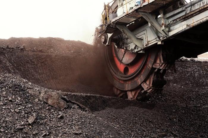 A bucket wheel excavator for digging into coal.