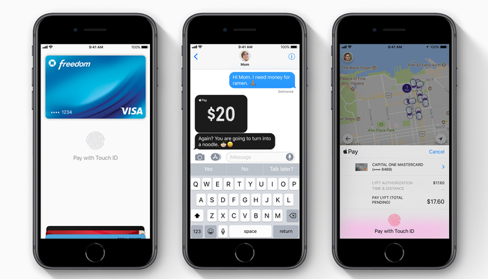 Three iPhones each highlighting a different aspect of Apple Pay.