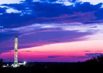Shale oil rig at dawn