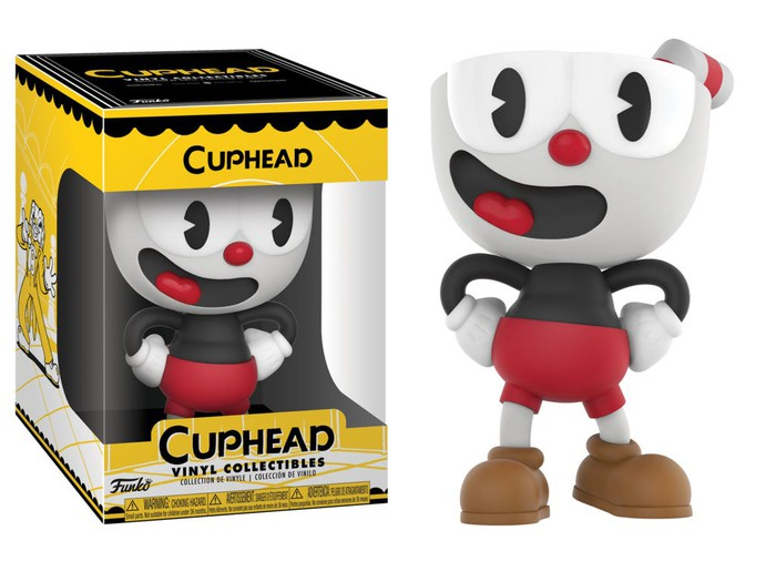 A collectible doll based on the video game Cuphead.