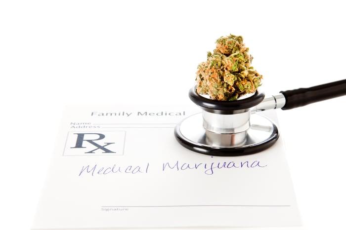 Marijuana bud with stethoscope and prescription script
