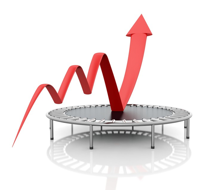 Red charting arrow making three small bounces before skyrocketing off a trampoline.