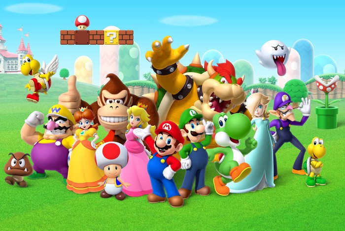 Mario, Luigi, Peach, and other characters from Nintendo's Mario universe standing together outside.
