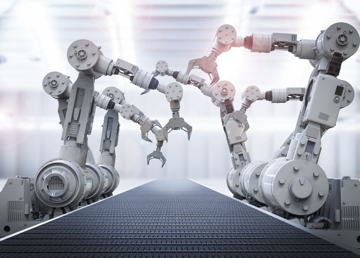 Illustration of robots on an assembly line.