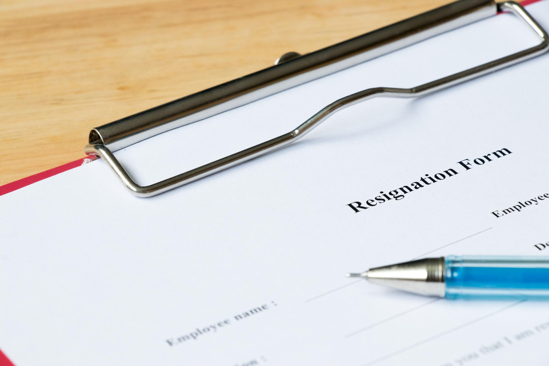 Resignation form on a clipboard