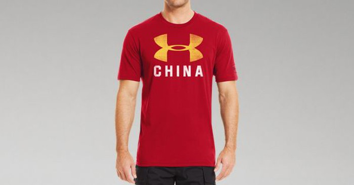 Man wearing t-shirt with the Under Armour logo and CHINA written on it