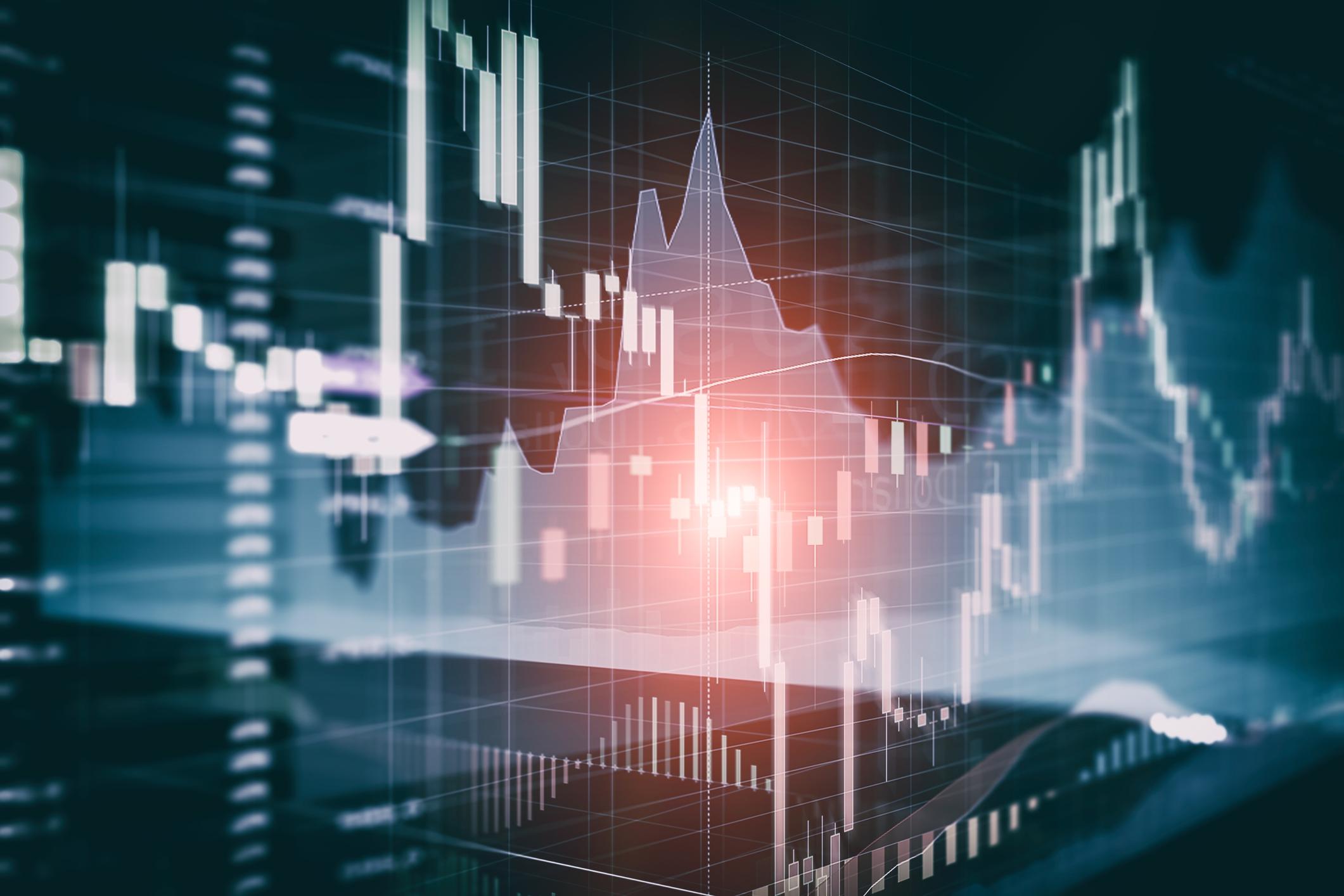 Abstract stock charts.