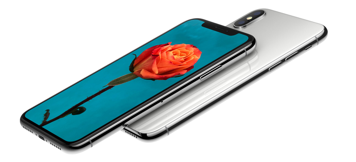 Side view of silver iPhone X with a flower on the screen.
