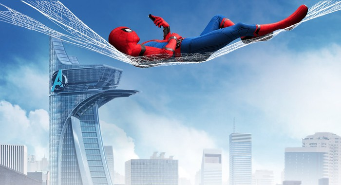 Spider-man lounging in a web, high above a misty cityscape showing Marvel's version of New York City.