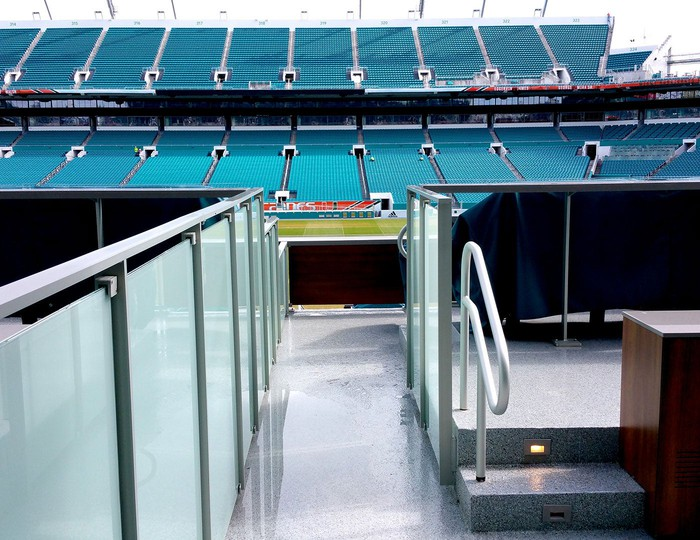 Trex commercial products railing in a football stadium.