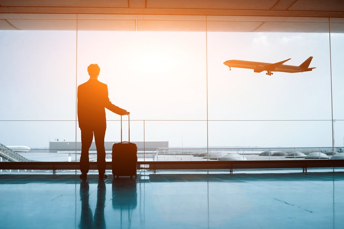 Business traveler at an airport