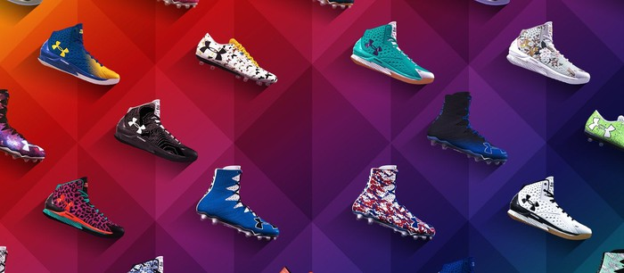 A wall of UA shoes.