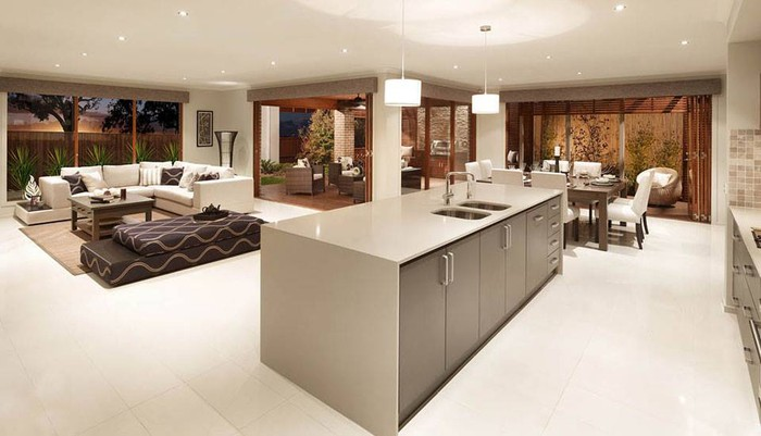 A living area that includes a kitchen island.