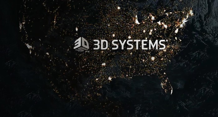 3D Systems logo over a map of the U.S. near dawn Eastern time.