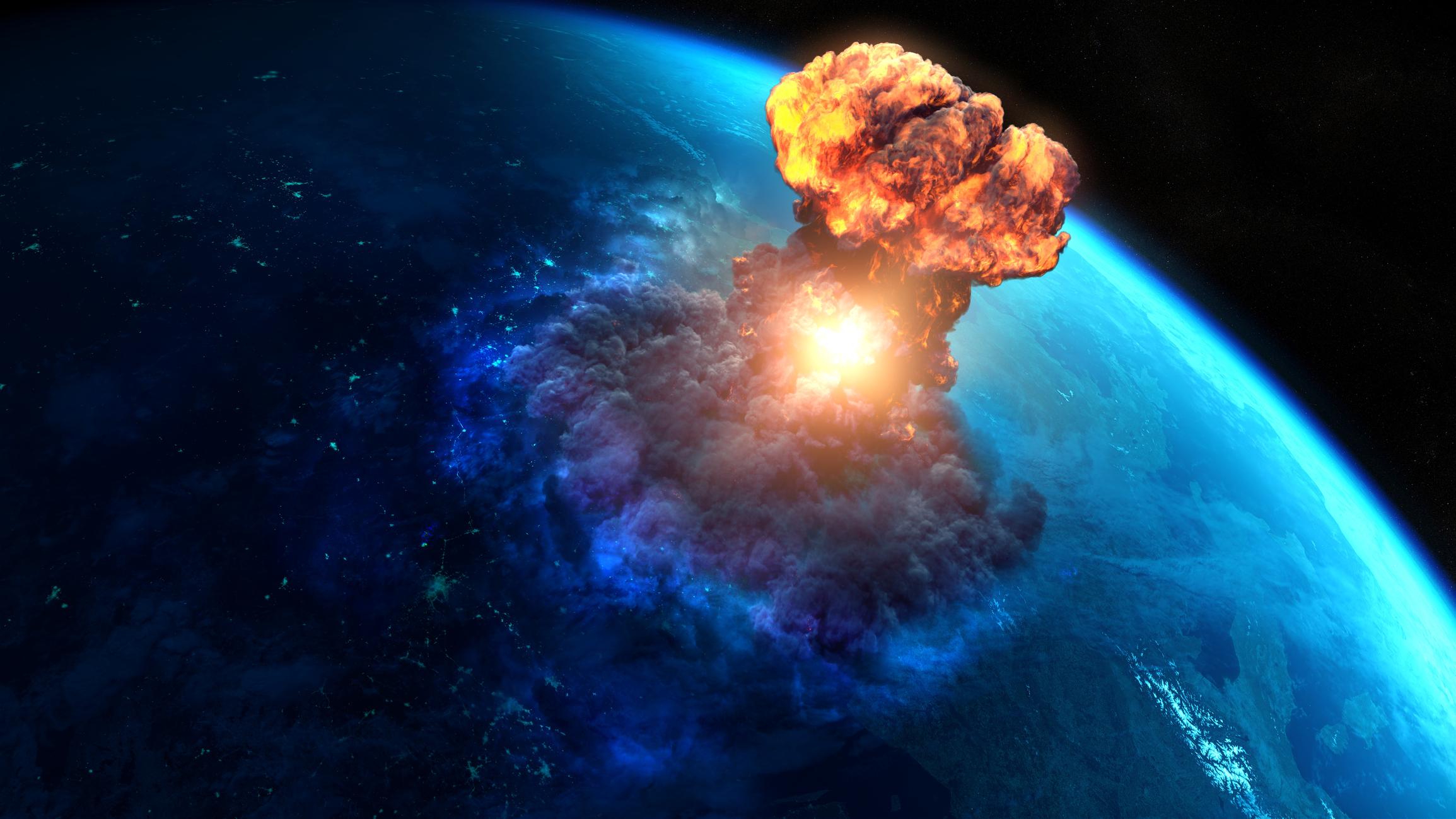 Mushroom cloud emerging from Earth