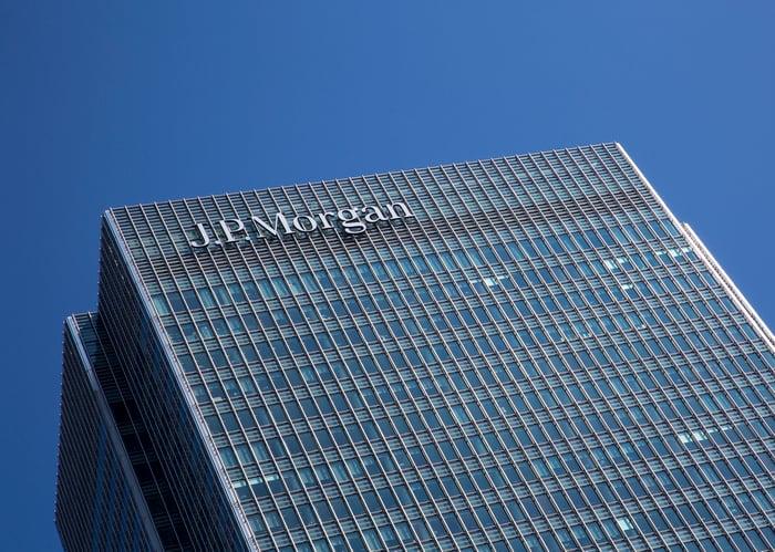 Skyscraper with a sign reading J.P. Morgan