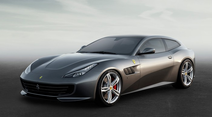 A silver Ferrari GTC4Lusso, a 12-cylinder-powered four-seat sports car.