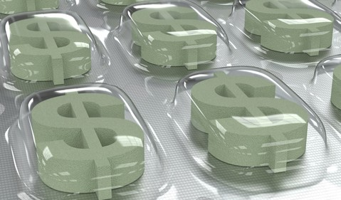 Dollar signs in a drug packet
