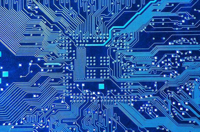 A blue circuit board