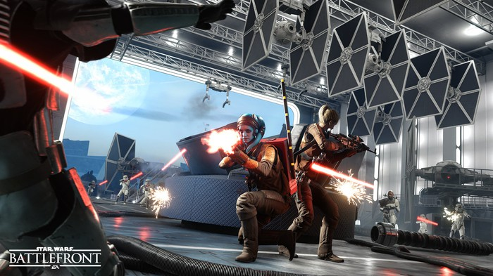 Screenshot of EA's Star Wars Battlefront 2 game depicting characters holding light sabers during combat.