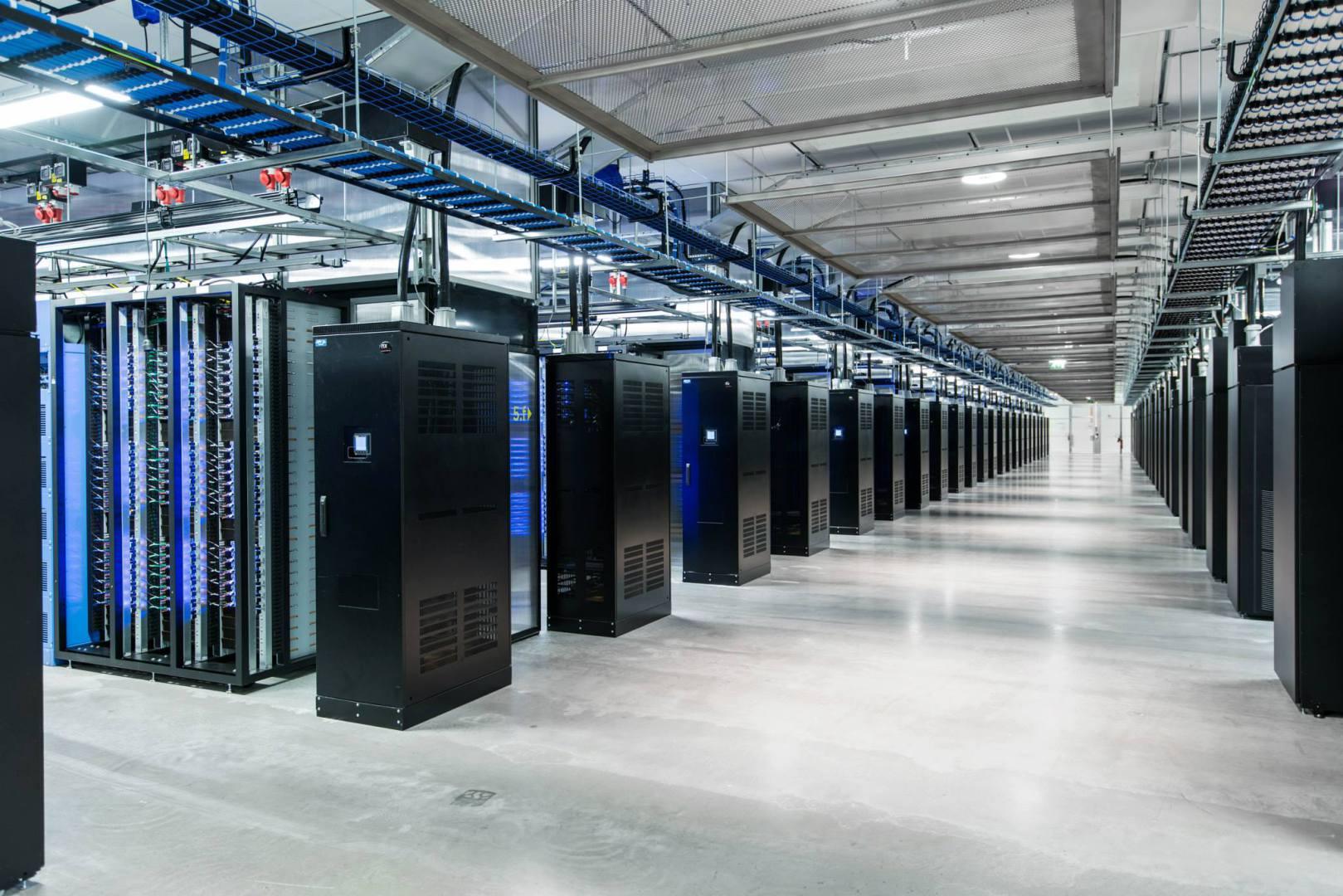 Indoor picture of servers inside Facebook's data center in Lulea, Sweden